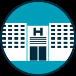 Icône d'un hôpital représentant la connaissance médicale